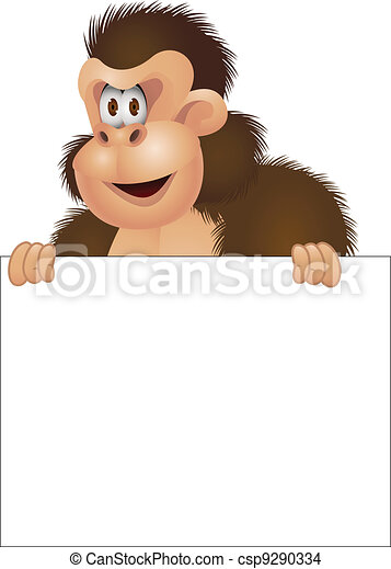 Gorilla with blank sign - csp9290334