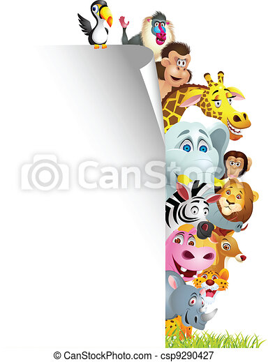 Animal cartoon with blank sign - csp9290427