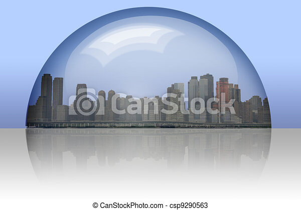 City Enclosed in glass sphere - csp9290563
