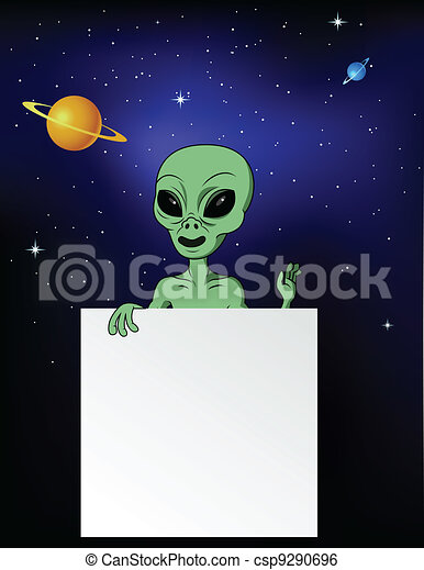 Alien with blank sign - csp9290696