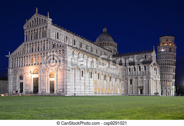 Piazza dei Miracoli:Basilica and the Leaning Tower, Pisa, Italy - csp9291021