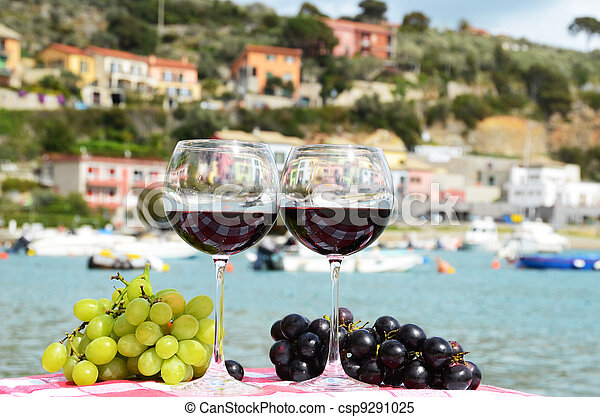Pair of wineglasses and grapes against the harbour of Portvenere, Italy - csp9291025
