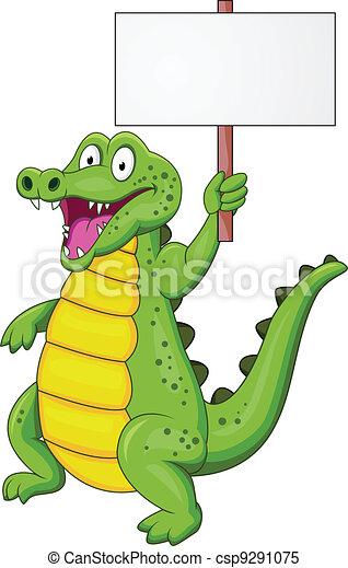 Vecteur clipart de crocodile dessin anim vide signe csp9291075 recherchez des images - Dessin anime crocodile ...