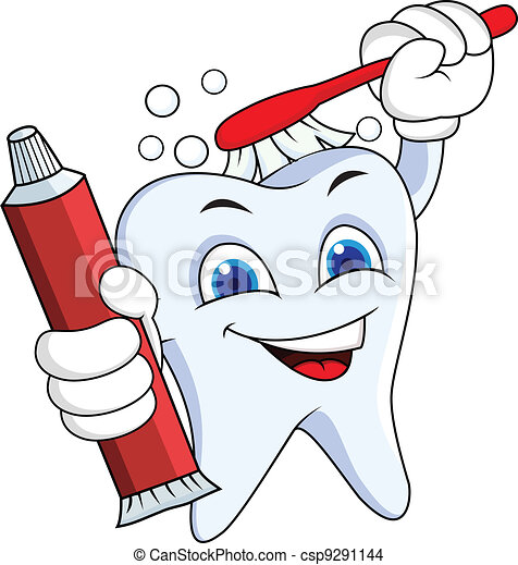 Tooth with brush and tooth paste - csp9291144