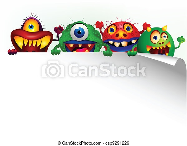 Monster cartoon with blank sign - csp9291226