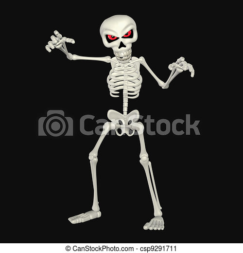 Scary Cartoon Skeleton