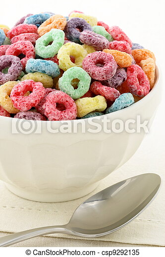 kids delicious and nutritious cereal loops or fruit cereal - csp9292135