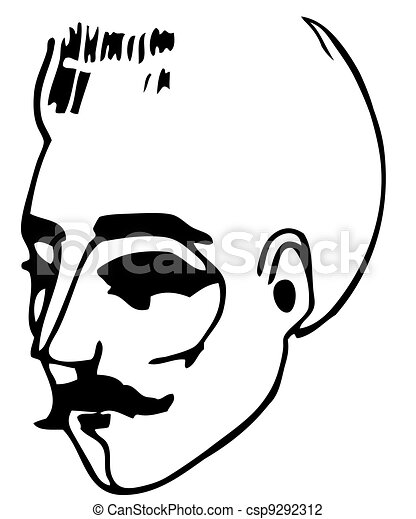 face of a man with a mustache - csp9292312