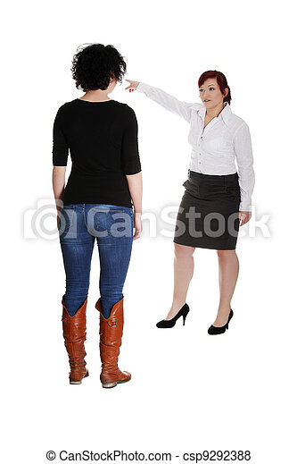 Businesswoman giving reprimand to worker. - csp9292388