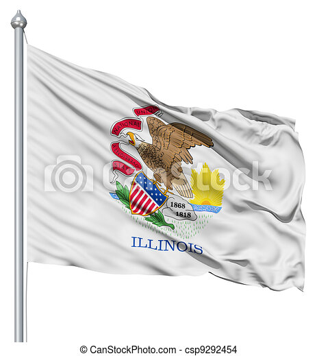 Waving Flag of USA state Illinois - csp9292454
