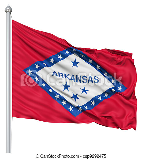Waving Flag of USA state Arkansas - csp9292475