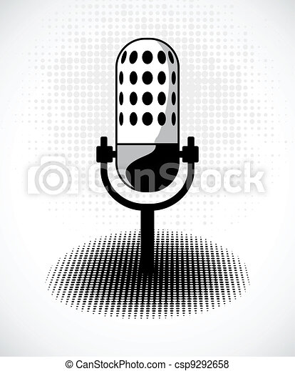 Retro microphone on dots card. Vector - csp9292658