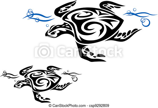 Turtle in ocean water - csp9292809