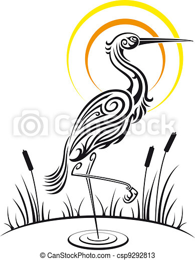 Heron bird on the lake - csp9292813