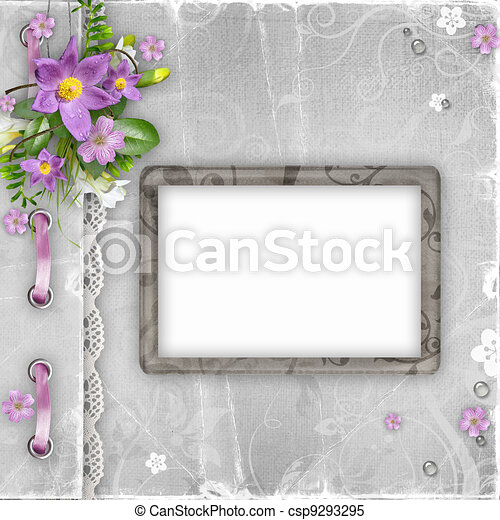 Greeting card  with spring flowers - csp9293295