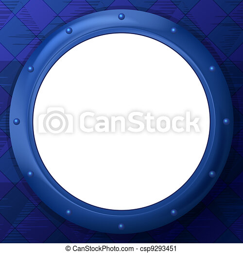 Frame round porthole on blue background - csp9293451