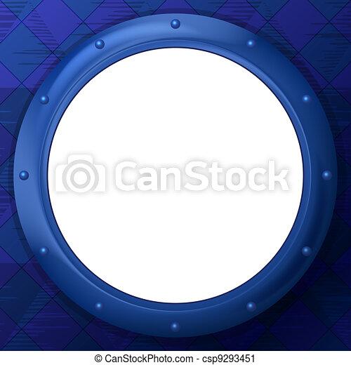 Frame round porthole on blue background - csp9293451