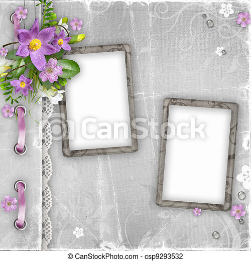 vintage paper photo frames with spring flowers on textured background - csp9293532