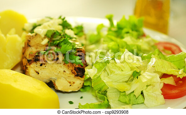 traditional plate of grilled cod - csp9293908