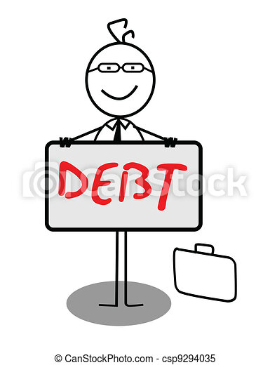 Businessman Happy Debt Banner - csp9294035