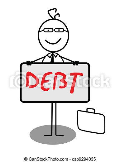 Businessman Happy Debt Banner - csp9294035