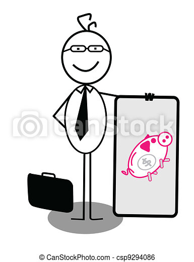 Businessman Piggy Bank Banner - csp9294086