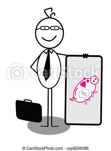 Businessman Piggy Bank Banner - csp9294086