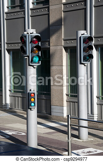 View of traffic lights for bicycles