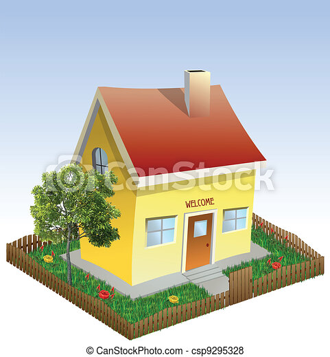 House in the yard with tree and grass. Vector - csp9295328