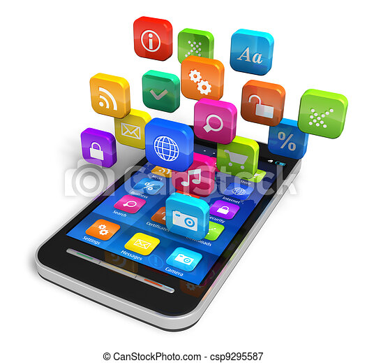 Smartphone with cloud of application icons - csp9295587