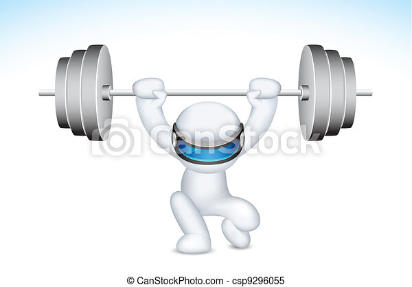 3d Man lifting Weights in vector - csp9296055