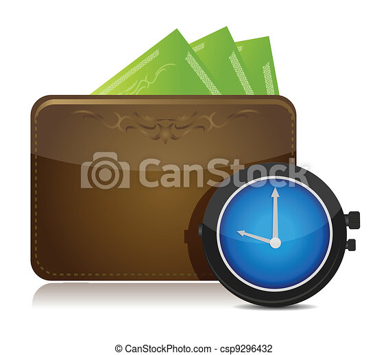 wallet and watch illustration - csp9296432