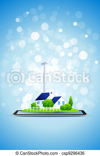 Country House and Power Station on Tablet Computer - csp9296436