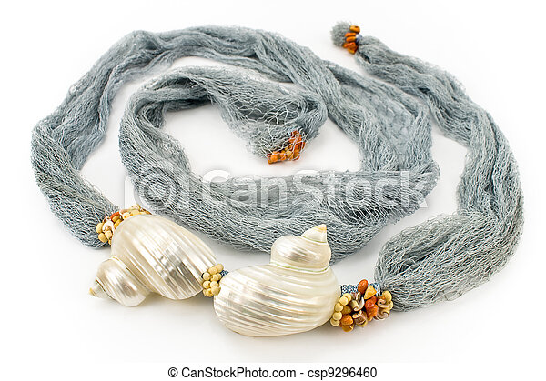 Seashells on colourful female scarf - csp9296460
