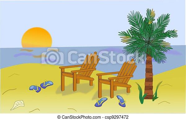 Clip Art of Beach Scene - Illustration of a tropical beach scene ...