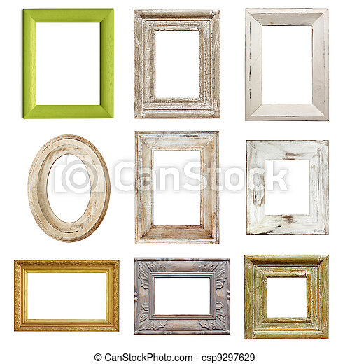 Collection of Distressed Picture Frames - csp9297629
