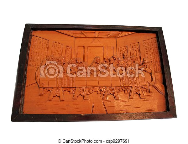 Last Supper Carved on Wood - csp9297691