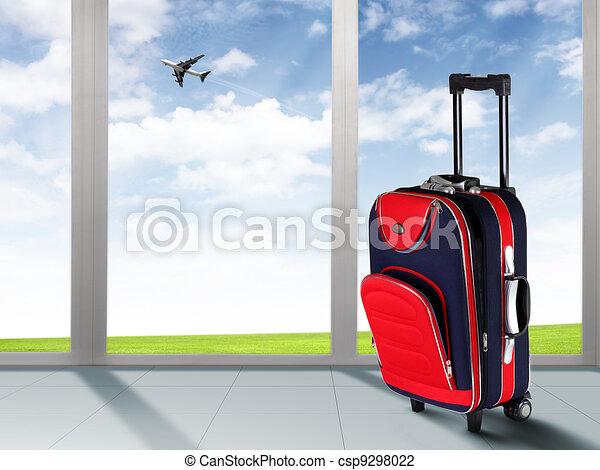 Rød, Kuffert, flyvemaskine - csp9298022