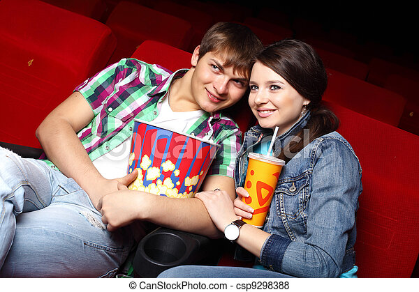 Young couple in cinema watching movie - csp9298388