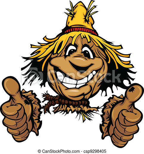 Thumbs Up Scarecrow Face with Straw Hat Cartoon Illustration - csp9298405