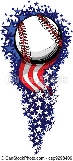 Baseball Firework with Flags and Stars - csp9298406