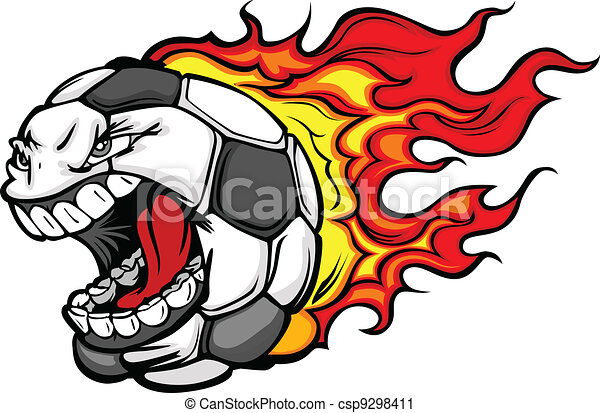 Flaming Soccer Ball Screaming Face Vector Cartoon - csp9298411