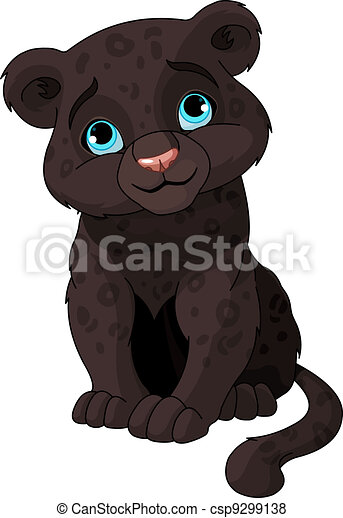 Black panther cub - csp9299138