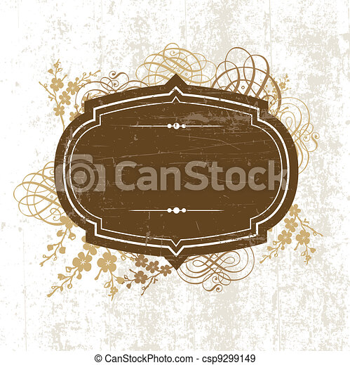 Vector Distressed Frame and Ornaments - csp9299149