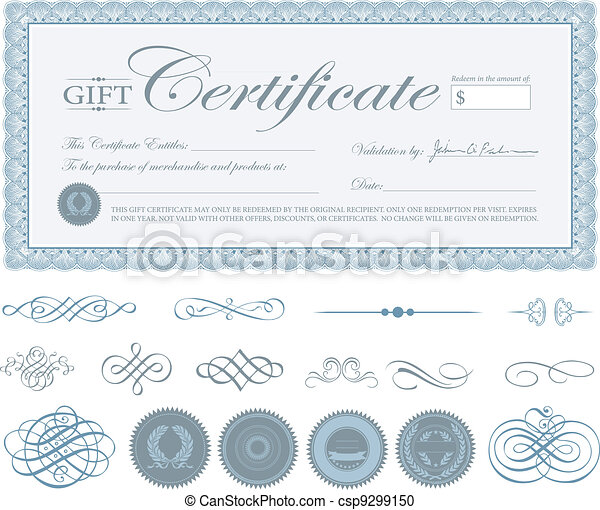 Vector Blue Certificate Border and Ornaments - csp9299150