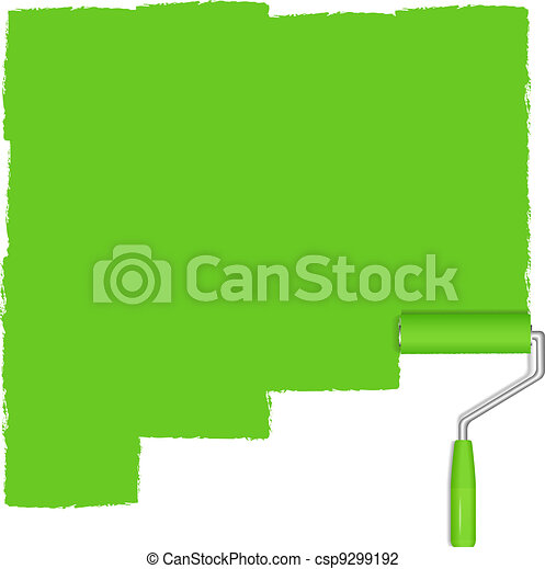Green background with paint roller - csp9299192
