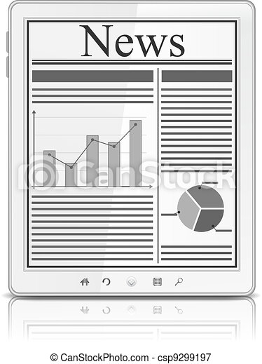 News on the screen of white Tablet PC - csp9299197