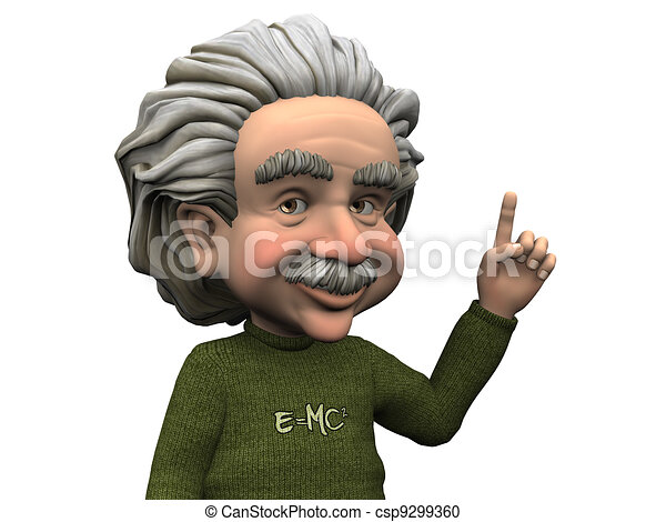 Cartoon Albert Einstein having an idea. - csp9299360