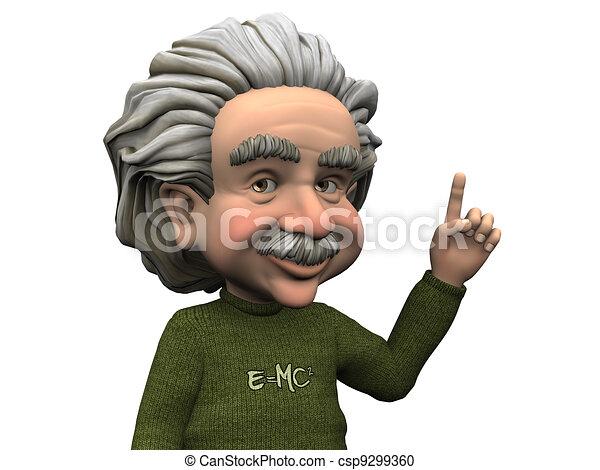 Cartoon Albert Einstein having an idea. - csp9299360