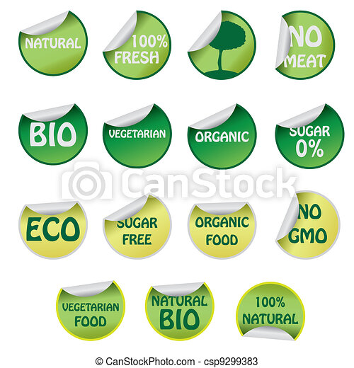 Set of icons with text about natural products. - csp9299383
